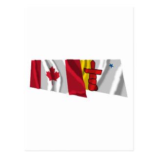 Canada & Nunavut Waving Flags Postcard