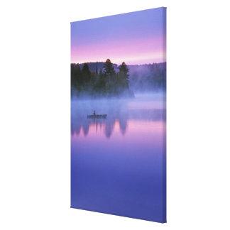 Canada, Ontario, Algonguin Park, Canoeist on Canvas Print