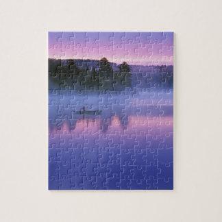 Canada, Ontario, Algonguin Park, Canoeist on Jigsaw Puzzle
