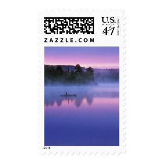 Canada, Ontario, Algonguin Park, Canoeist on Postage