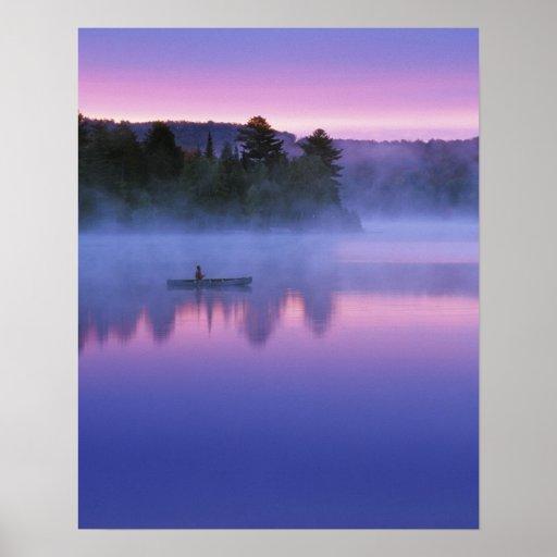 Canada, Ontario, Algonguin Park, Canoeist on Poster