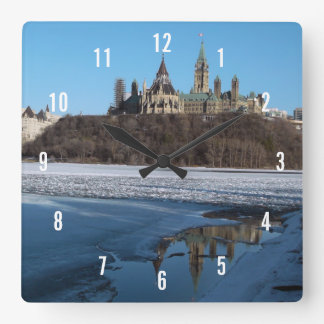 Canada Parliament Buildings View from Ottawa River Square Wall Clock