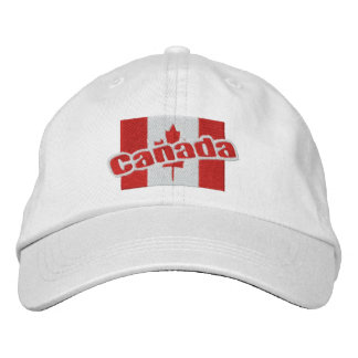 Canada Patriotic Flag And Text Embroidered Hat