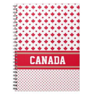 Canadá personaliza al canadiense blanco rojo único spiral notebook