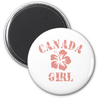 Canada Pink Girl 2 Inch Round Magnet