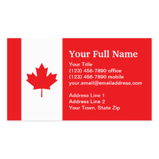 Canada Plain Flag Double-Sided Standard Business Cards (Pack Of 100)
