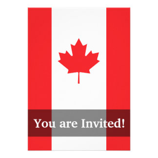 Canada Plain Flag Personalized Invitations
