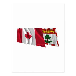Canada & Prince Edward Island Waving Flags Postcard