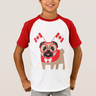 Canada Pug with Canada Flag Headband Customize! T-Shirt