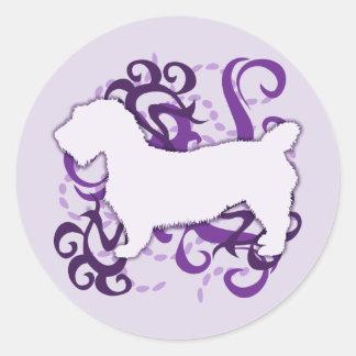 Cañada púrpura del remolino de Imaal Terrier Pegatina Redonda