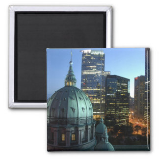 Canada, Quebec, Montreal. Downtown Montreal, 2 Inch Square Magnet