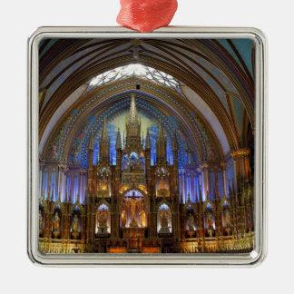 Canadá, Quebec, Montreal. Interior de Notre 2 Adorno Cuadrado Plateado