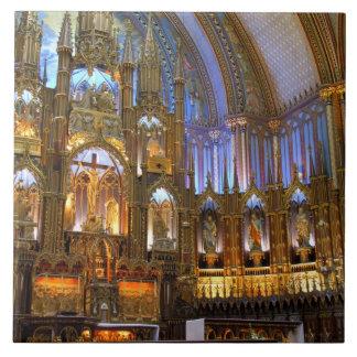 Canadá, Quebec, Montreal. Interior de Notre Azulejo Cuadrado Grande