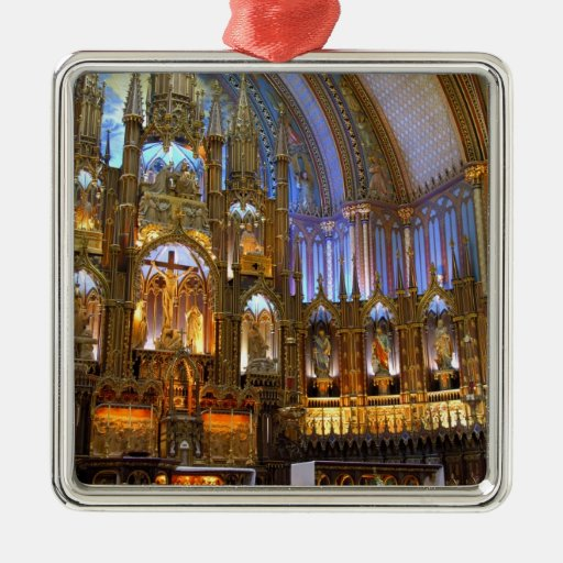 Canadá, Quebec, Montreal. Interior de Notre Adorno Cuadrado Plateado