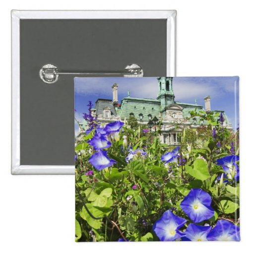 Canada, Quebec, Montreal. View of City Hall 2 Inch Square Button