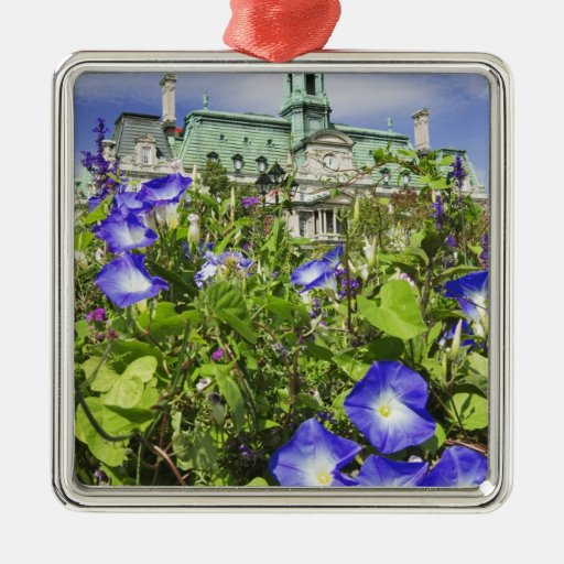 Canada, Quebec, Montreal. View of City Hall Square Metal Christmas Ornament