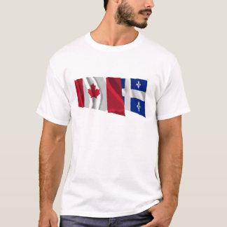 Canada & Quebec Waving Flags T-Shirt