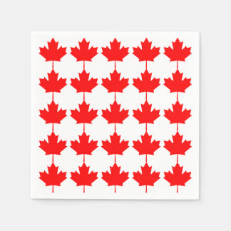 Canada Red Maple Leaf Pattern Standard Cocktail Napkin