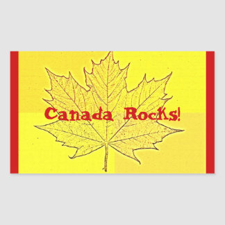 Canada Rocks! Gold and Red Rectangular Sticker