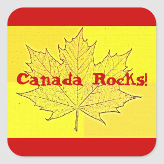 Canada Rocks!-Yellow Maple Leaf+Red Square Sticker