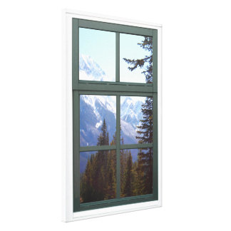 Canada Rocky Mountains Nature Faux Window View Canvas Print