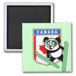 Square Magnet with Canadian Ski-jumping Panda design