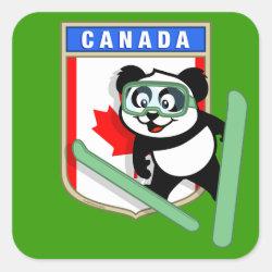 Square Sticker with Canadian Ski-jumping Panda design