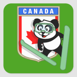 Square Sticker with Canadian Ski-jumping Panda design