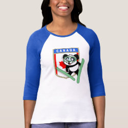 Ladies Raglan Fitted T-Shirt with Canadian Ski-jumping Panda design