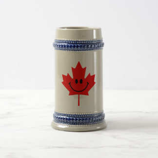 Canada Smiley - A smiley face on red maple Beer Stein