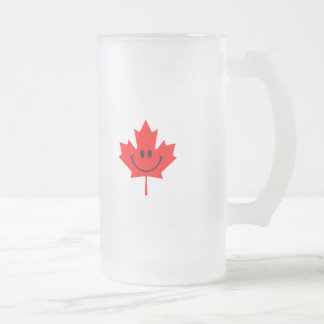 Canada Smiley - A smiley face on red maple Frosted Glass Beer Mug