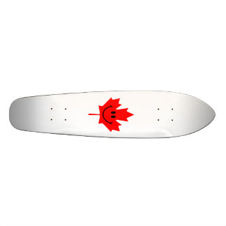 Canada Smiley - A smiley face on red maple Custom Skate Board