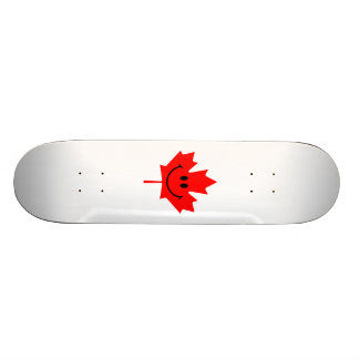 Canada Smiley - A smiley face on red maple Skateboards