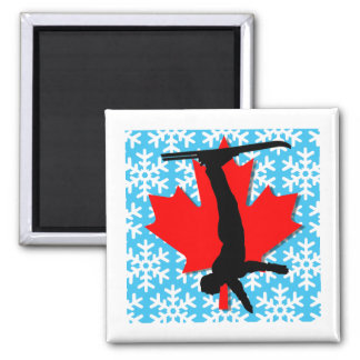 canada snowflake aerial skiing magnet