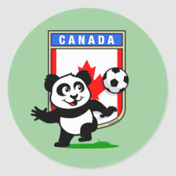 Round Sticker with Canada Football Panda design