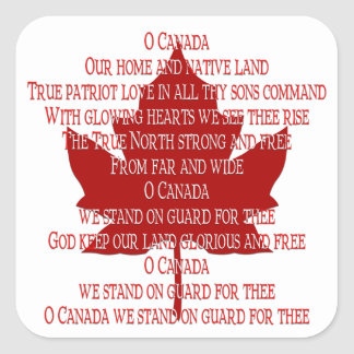 Canada Souvenir Stickers Canadian Anthem Sticker
