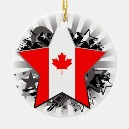 Canada Star Double-Sided Ceramic Round Christmas Ornament