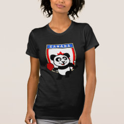 Women's American Apparel Fine Jersey Short Sleeve T-Shirt with Canadian Table Tennis Panda design