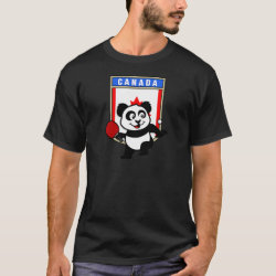 Men's Basic Dark T-Shirt with Canadian Table Tennis Panda design