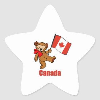 Canada Teddy Bear Star Sticker