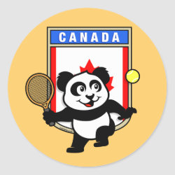 Round Sticker with Canadian Tennis Panda design