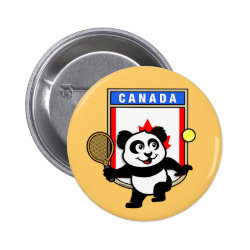 Round Button with Canadian Tennis Panda design
