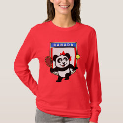 Women's Basic Long Sleeve T-Shirt with Canadian Tennis Panda design