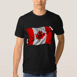 CANADA Text on Canadian Flag Tee Shirt