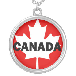 CANADA Text on Red and White Maple Leaf  Silver Plated Necklace