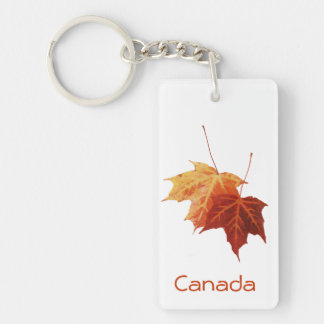 Canada - two red maple leaves Single-Sided rectangular acrylic keychain