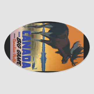 Canada Vintage Travel Poster Oval Sticker