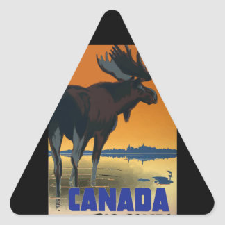 Canada Vintage Travel Poster Triangle Sticker