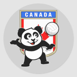 Round Sticker with Canada Volleyball Panda design