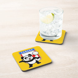 Beverage Coaster with Canada Volleyball Panda design